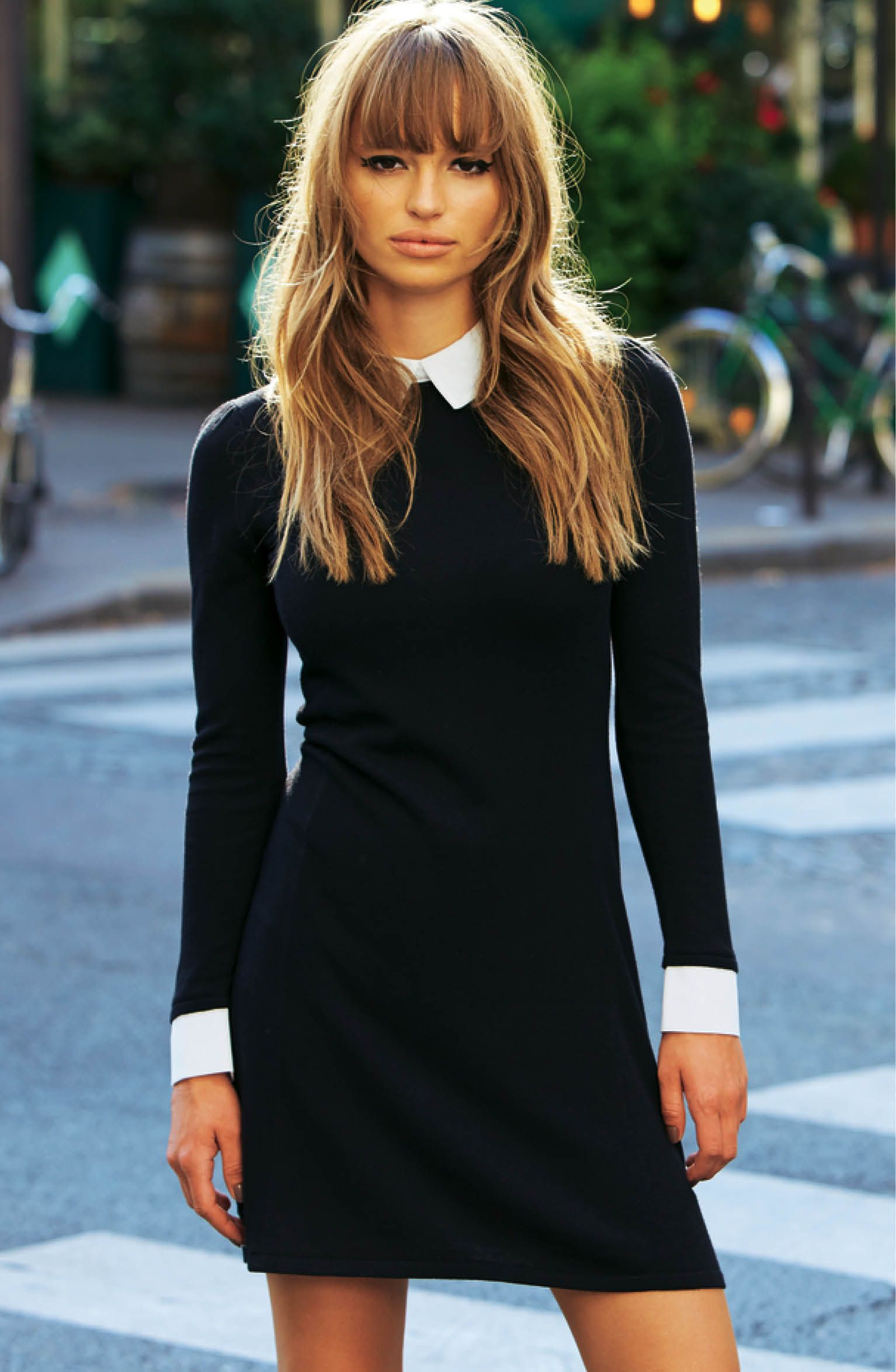 White Shirt Collar Black Sweater Dress With 60s Bangs And Cuffs Perfect Work Outfit [ 2350 x 1534 Pixel ]
