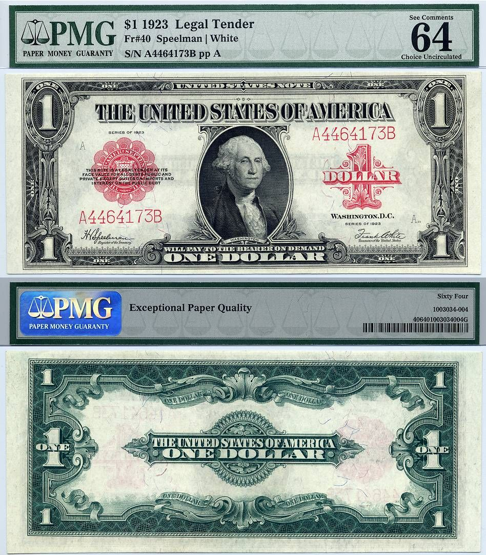 1923 1 United States Note Fr 40 Pmg Graded Cu 64 Red Seal Legal