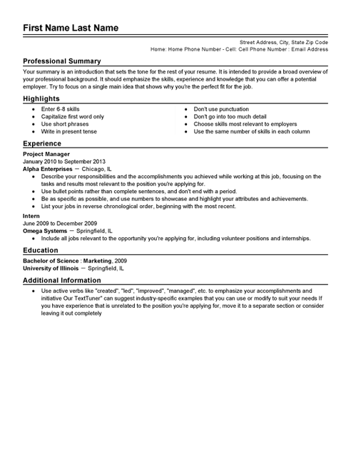 Traditional Resume Sample