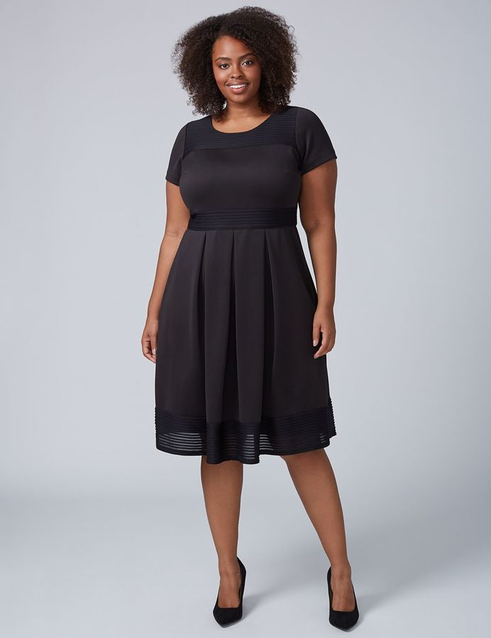 dd4f4787935ee Lane Bryant Scuba Fit   Flare Dress with Mesh