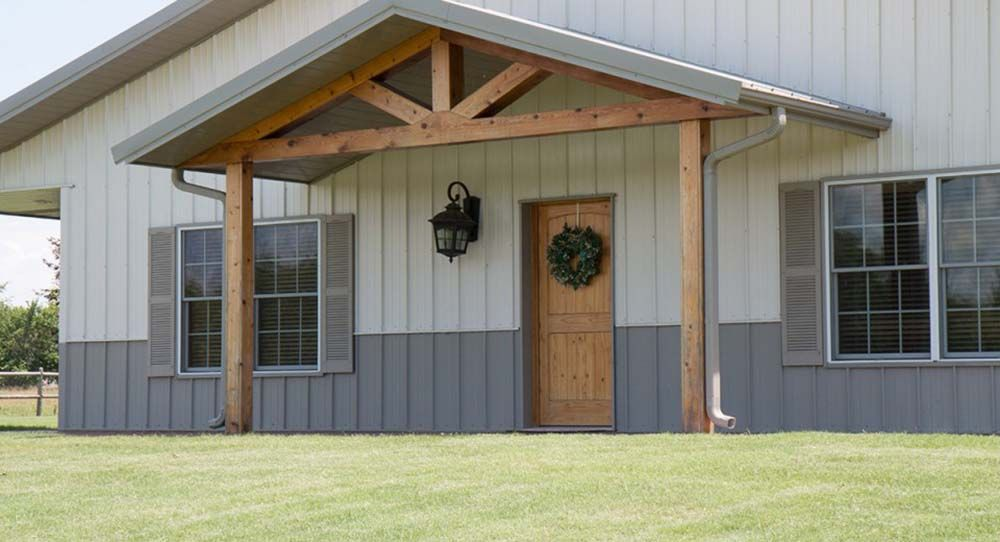 The Awning With This Style Of Beams For My Front Porch Metal Building Homes House Front Porch Building A House