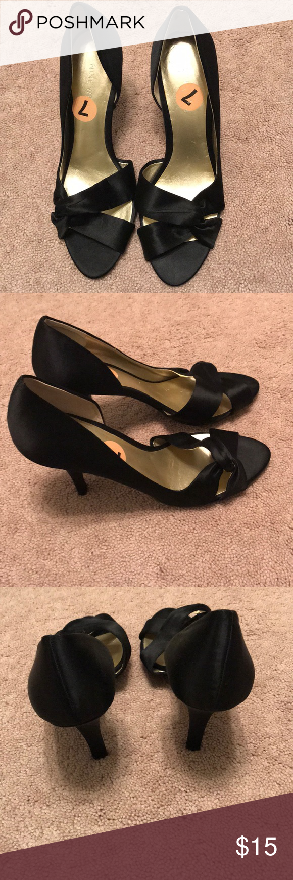 Satin dress shoes Never worn satin dress shoes - run narrow! Perfect for any formal event. Nine West Shoes Heels