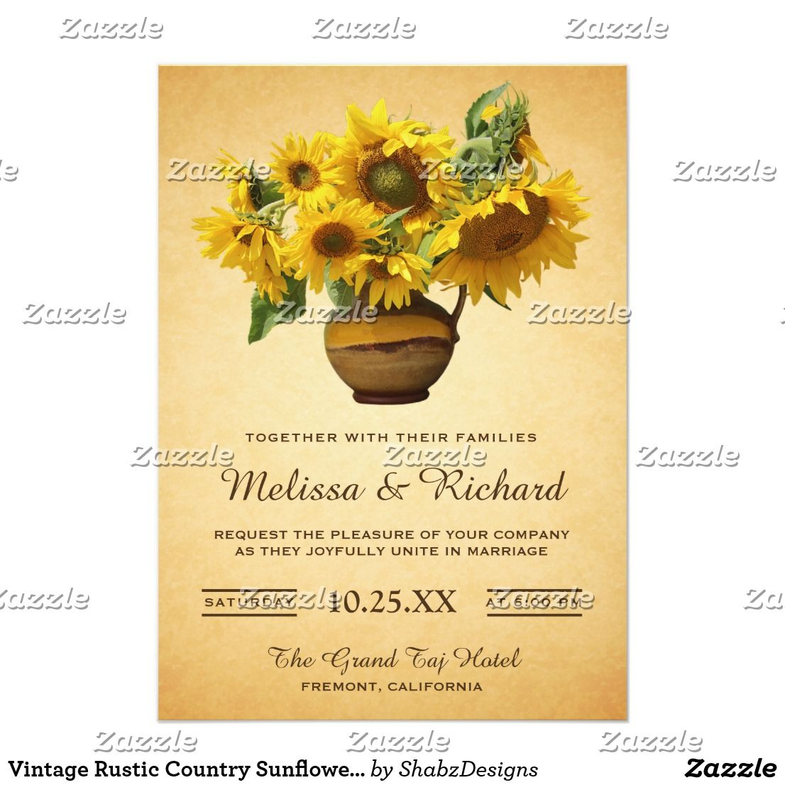 Vintage Rustic Country Sunflower Vase Wedding Card Wedding Card
