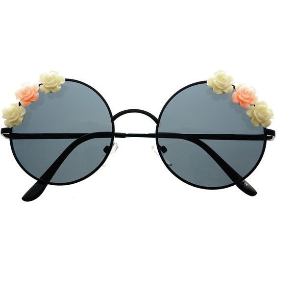 Cute Flower Indie Retro Fashion Style Metal Round Sunglasses R2370 (58.785 COP) ❤ liked on Polyvore featuring accessories, eyewear, sunglasses, glasses, round metal frame sunglasses, retro round sunglasses, round sunglasses, flower sunglasses and retro eyewear