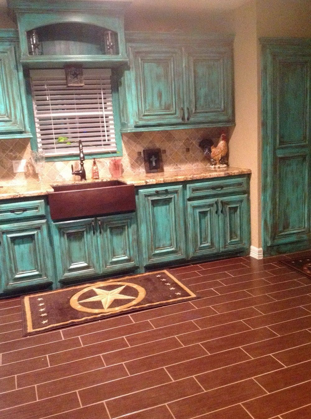 Rustic Teal Kitchen Cabinets Turquoise Cabinets Sweet Home Home Decor
