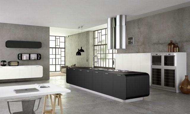 doimo cucine küche mit kücheninsel matt schwarz abzugshaube ...