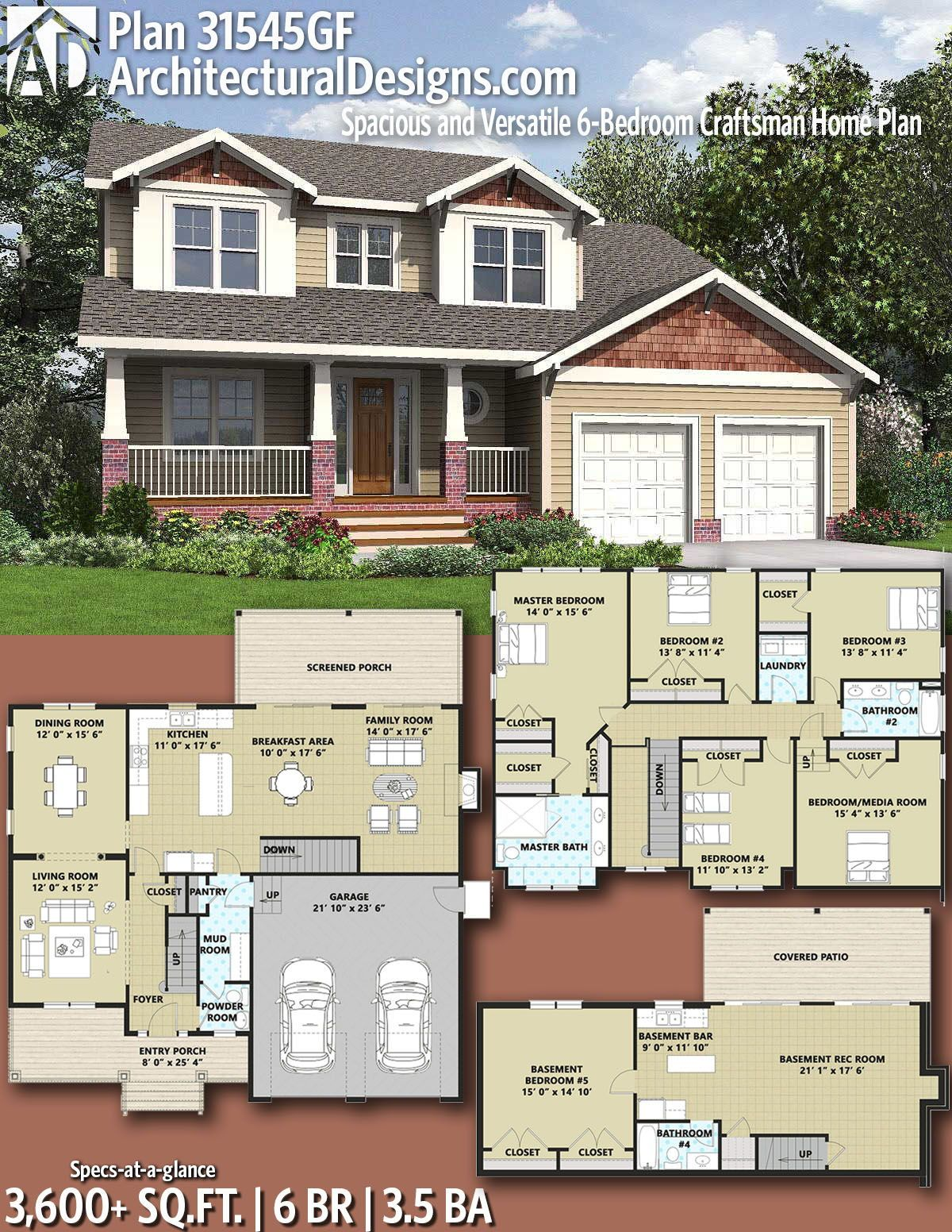 Plan 31545gf Spacious And Versatile 6 Bedroom Craftsman Home Plan Craftsman House Plans Craftsman House House Blueprints