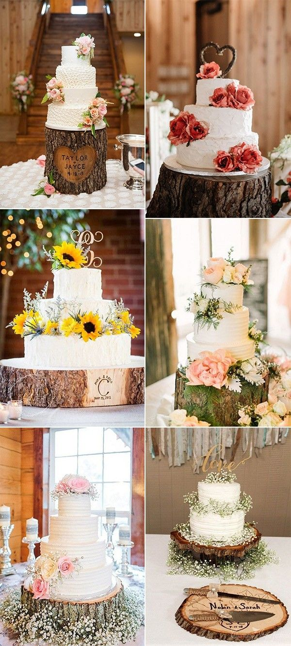 country rustic wedding decoration ideas with tree stumps