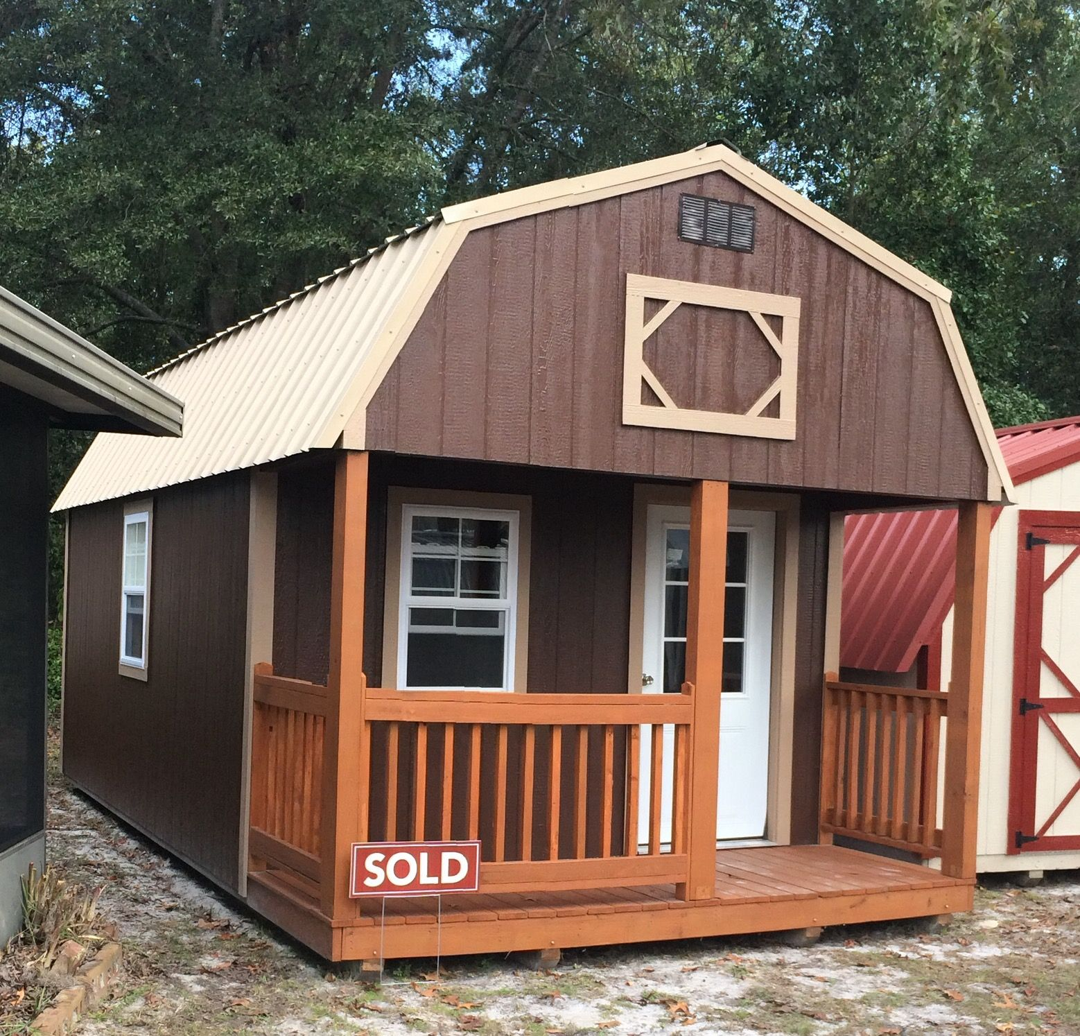 Lofted Barn Cabin With 2 Lofts 12x24 Wood Building Painted In Our Standard Colors Or Your Choice By Coas Portable Buildings Sunrise Building Lofted Barn Cabin