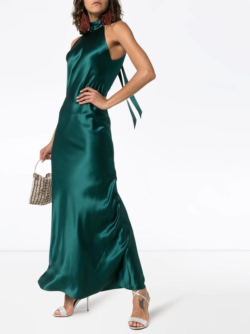 VLabel London Halterneck Maxi Frill Occasion Prom Dress