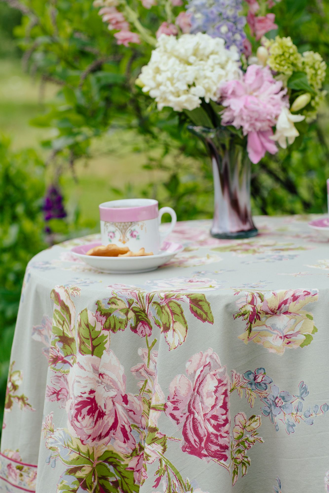 April Cornell VICTORIAN ROSE TABLECLOTH Sage 36 X 36 Spring 2015