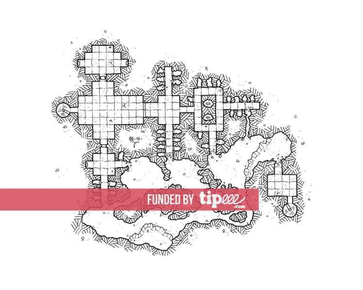 Here are some additional 5 Room levels for my modular dungeon project. It can be used with any Rpg. I will regularly produce different modules 5 Room for allow you to create a dungeon with the number of level you want or whynot an infinte Dungeon for the most intrepid !!  You can find all these modules on the blog in the Modular Dungeon Category.