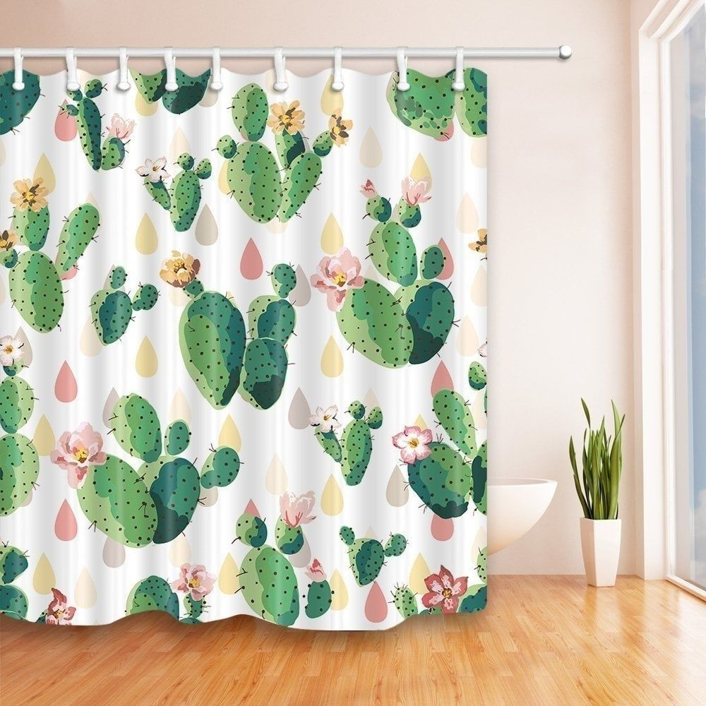 Cactus flowers bath curtain hooks included na clear best home