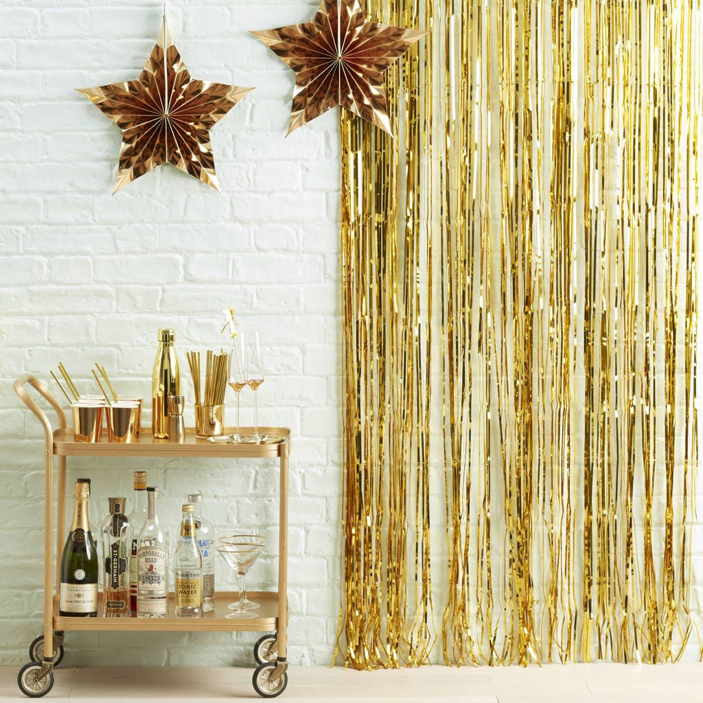 Gold Fringe Curtain Party Decoration | Decoration and Weddings