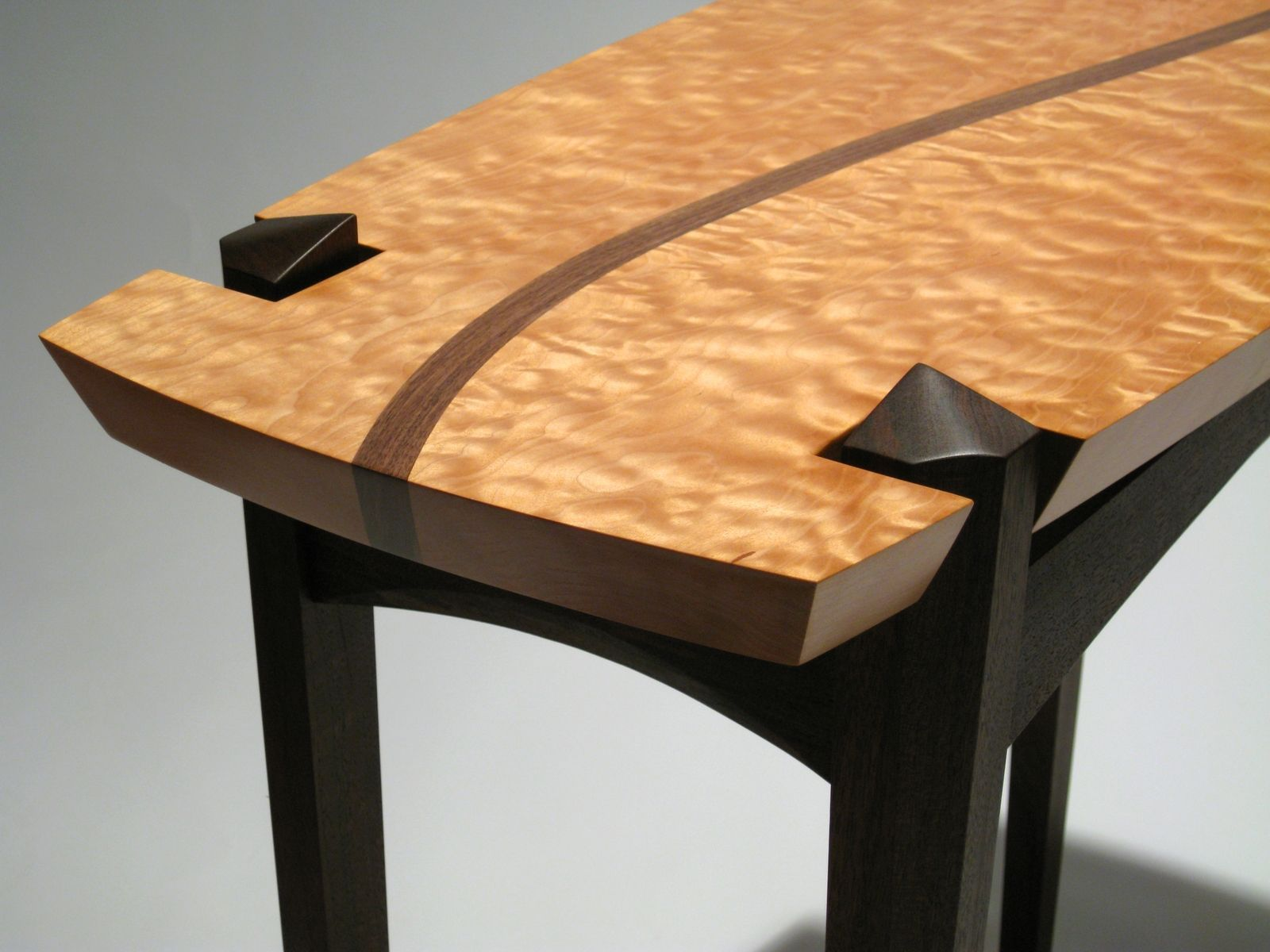 Entry Table Furniture handmade quilted maple and walnut entry tabledogwood design