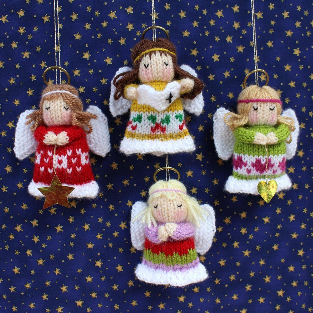 4e769bb21fc5b8 4 LITTLE ANGELS to hang on your Christmas tree. Quick and easy to make and  perfect for utilising yarn left over from other projects.