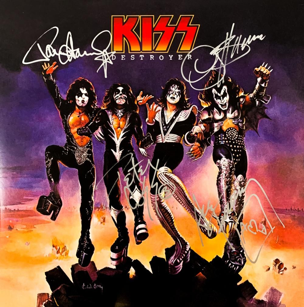 Kiss Band Signed Destroyer 1976 Album Kiss Album Covers