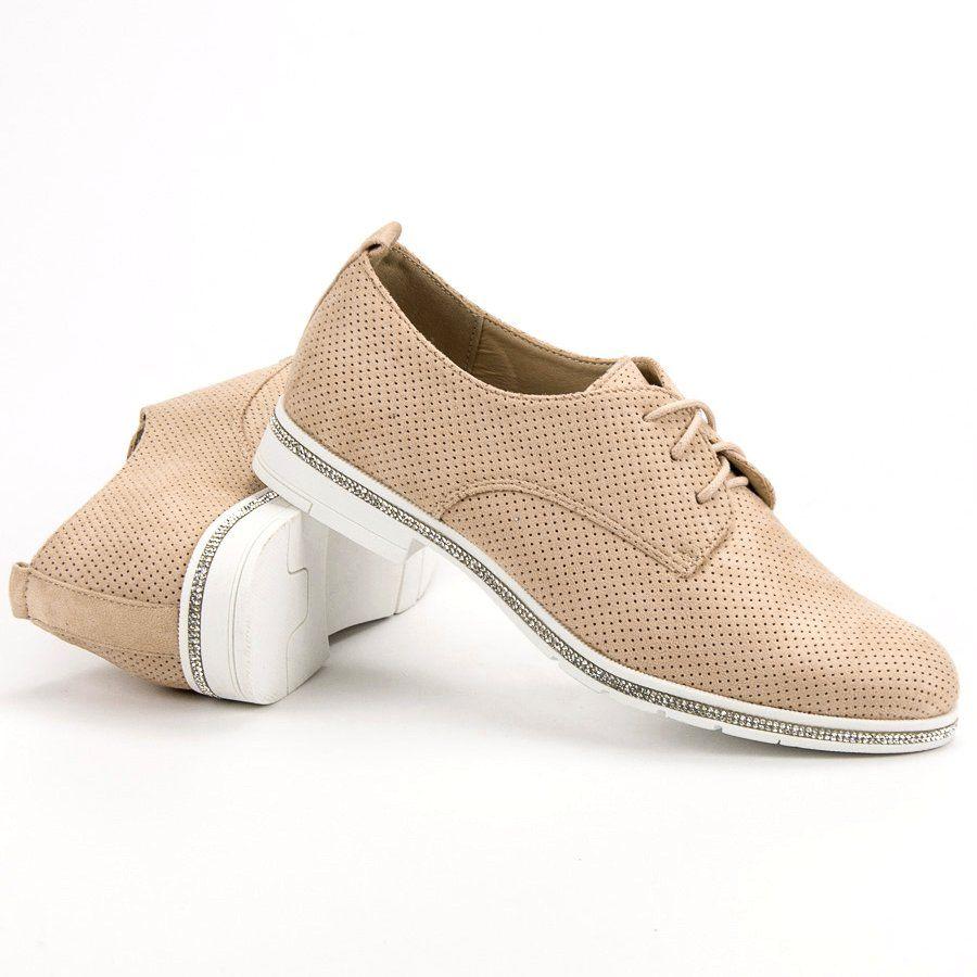 Seastar Bezowe Polbuty Z Krysztalkami Bezowy Shoes Sneakers Fashion