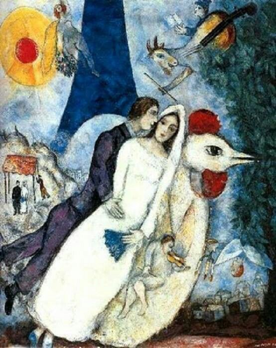 Chagall 역시 기분 좋아지는 샤갈  Translation:  Is your Mother coming WiTh US?!  Q:  what do you think roosters represent for Chagall?