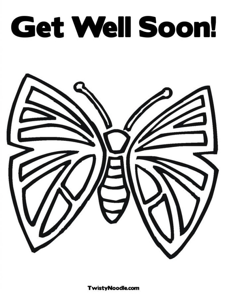 Butterfly Get Well Soon Coloring Pages   Considerate and caring ...