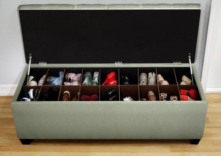 Kreative Schuhaufbewahrung schuhregal design kreativ sitzbank stauraum schuhaufbewahrung