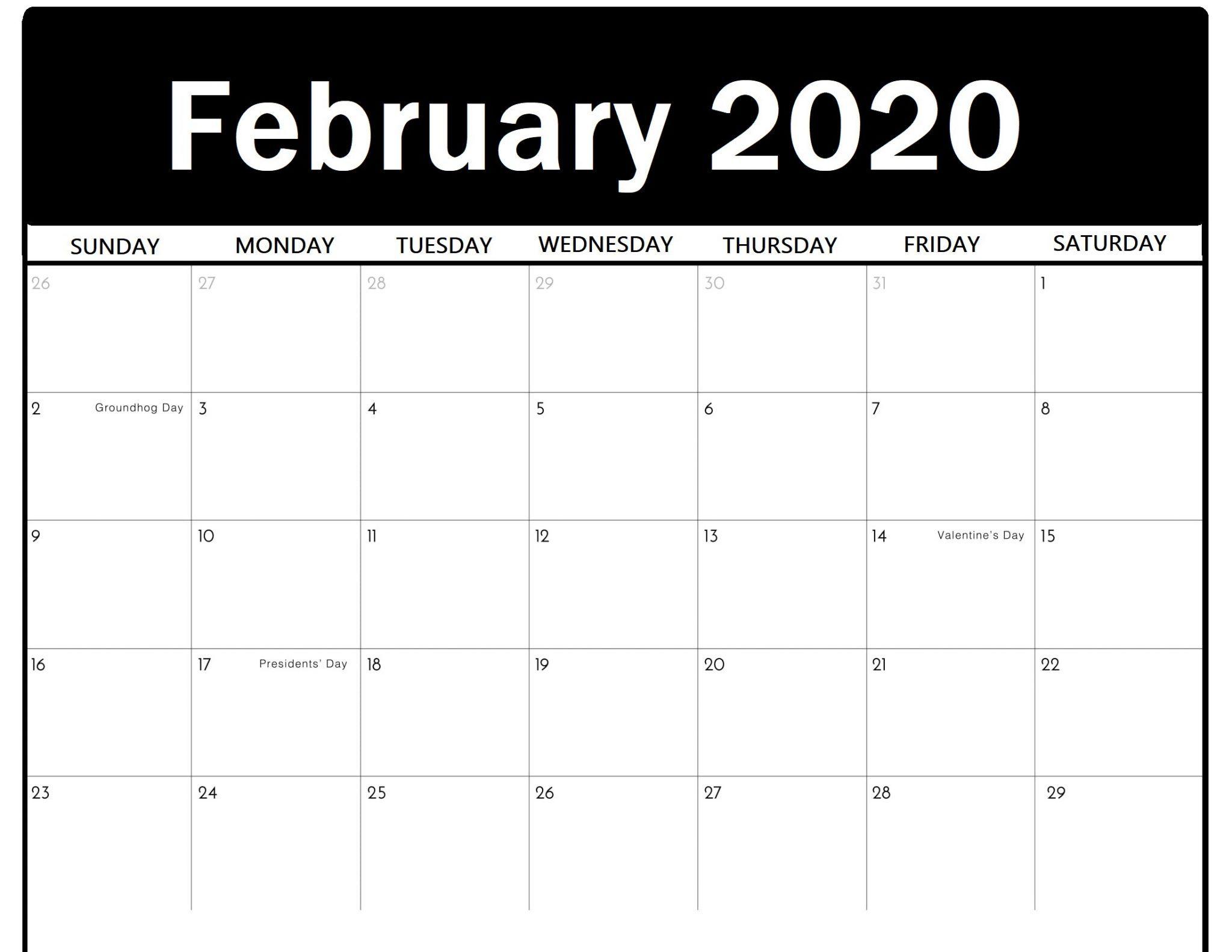 23+ Free Blank Calendar For February 2020 Printable