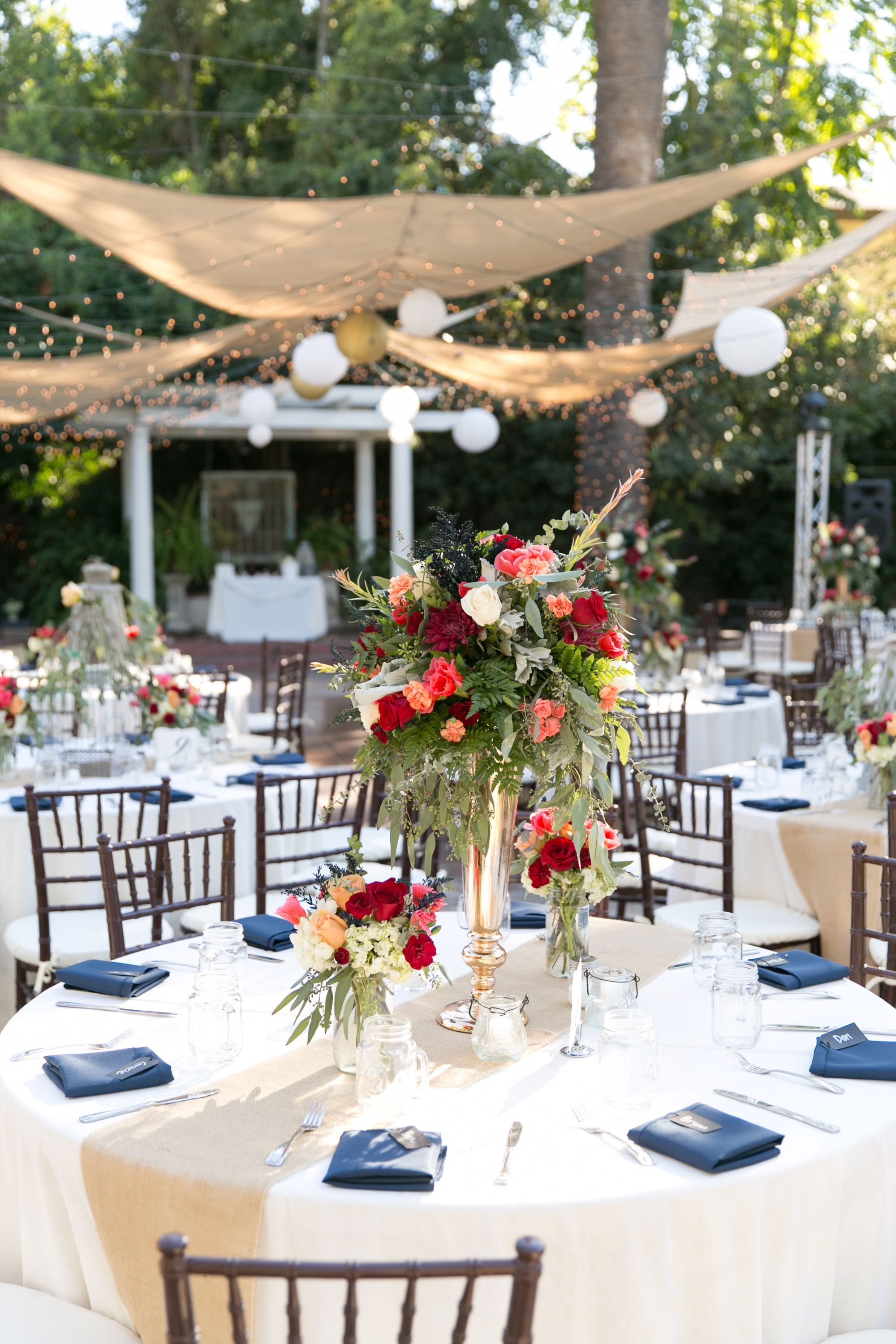 Outdoor reception. Fall. Colors: Navy, Ivory. Rustic ...