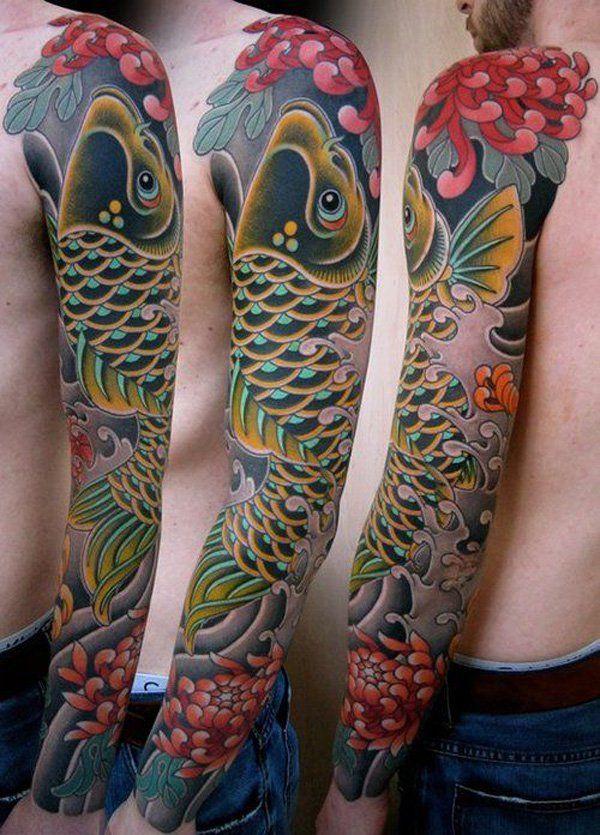 cefcb469f057e japanese chrysanthemum sleeve tattoo for men - 40 Beautiful Chrysanthemum  Tattoo Ideas