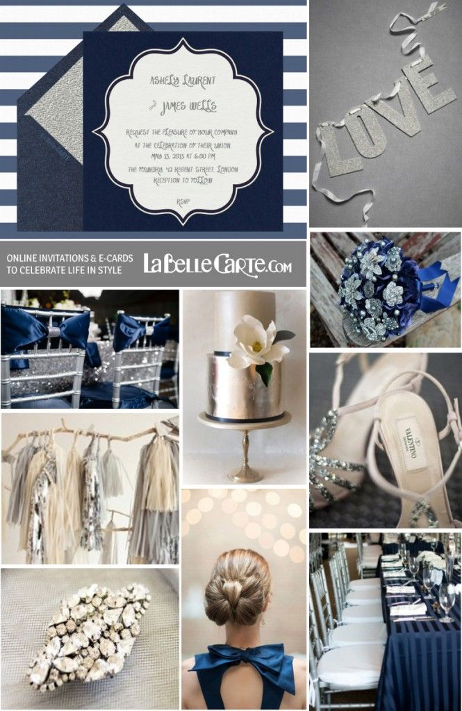 Wedding silver navy blue online invitations ideas for Navy blue wedding theme ideas