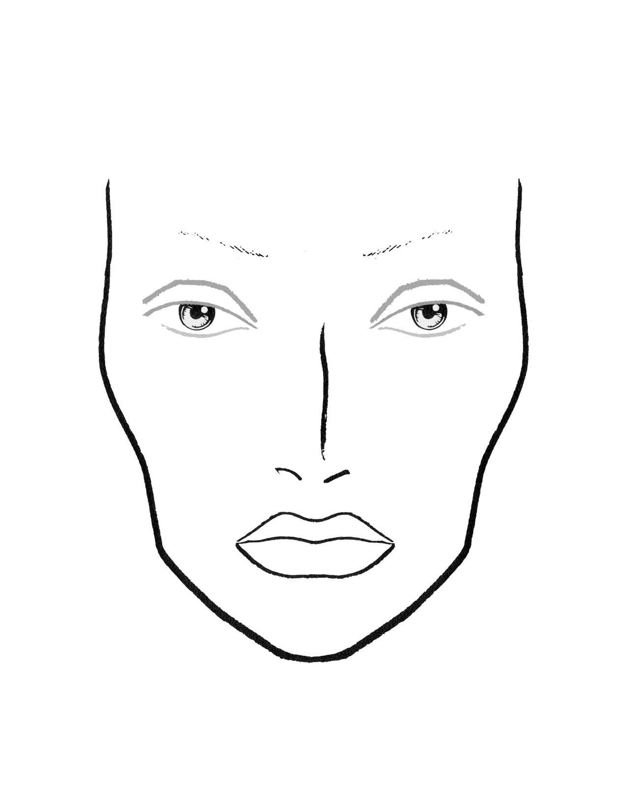 Blank Makeup Face Chart Template Sketch Coloring Page Face Chart Makeup Face Charts Mac Face Charts