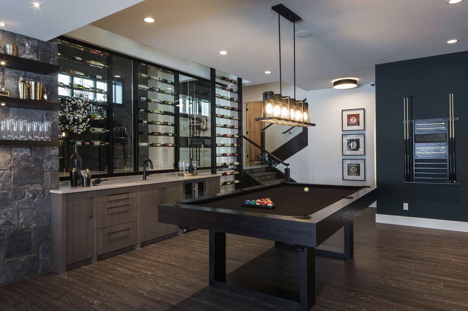 Inspiring Contemporary Home With Gorgeous Industrial Accents In Alberta In 2021 Home Game Room Bar Home Lottery Amazing ideas home bar game room