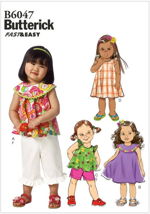 Toddlers Top, Dress, Shorts and Trousers Butterick Pattern 6047. Age ...