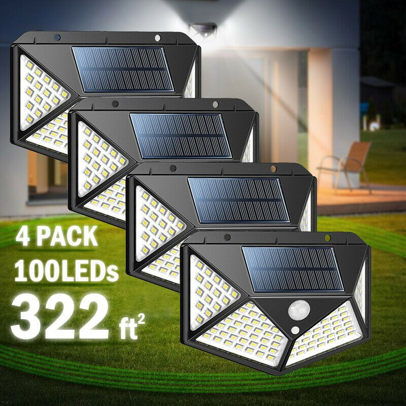 100 LED Outdoor Solar Powered Wall Lamp Motion Sensor