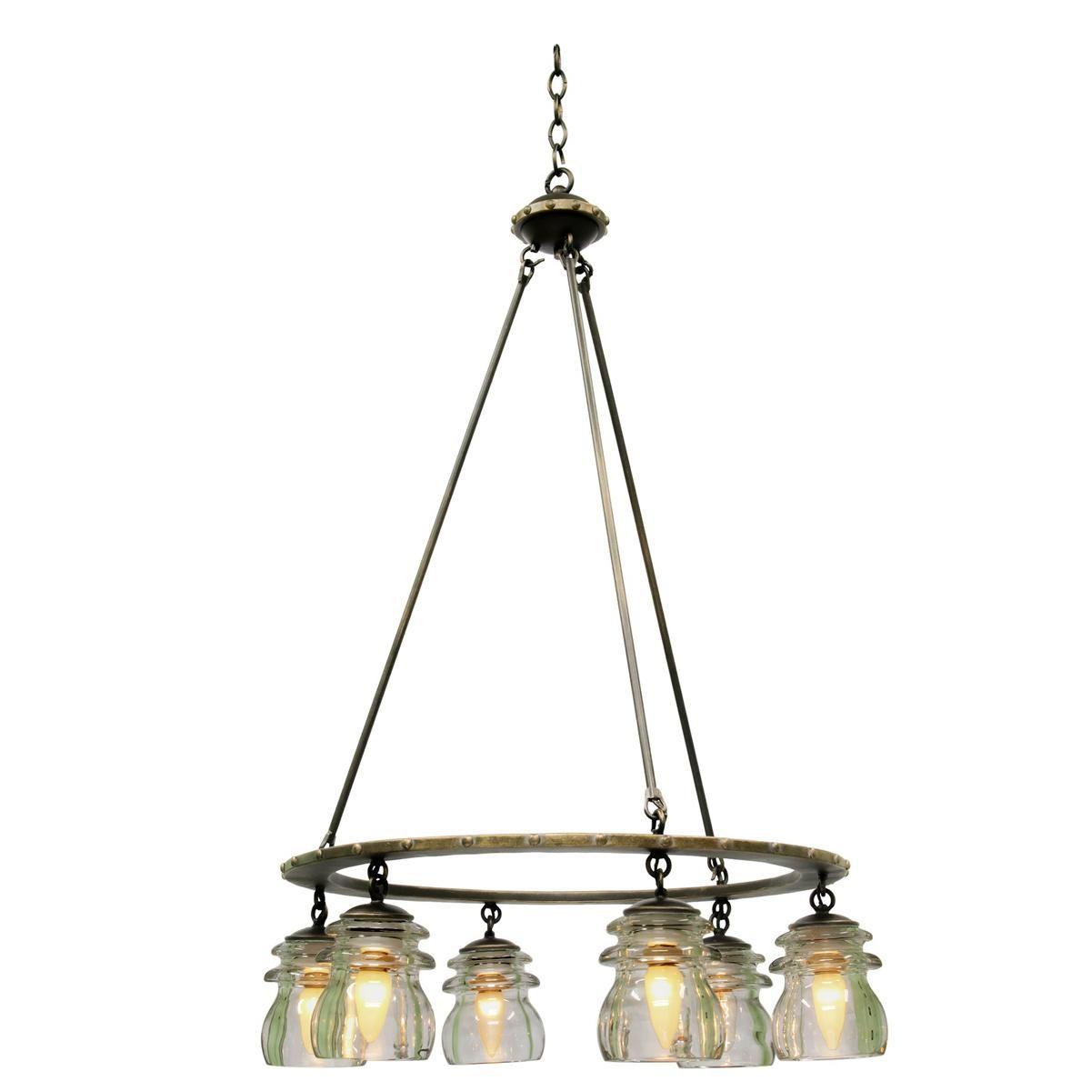 Insulator glass chandelier 6 light chandeliers glass and lights insulator glass 6 light chandelier arubaitofo Images