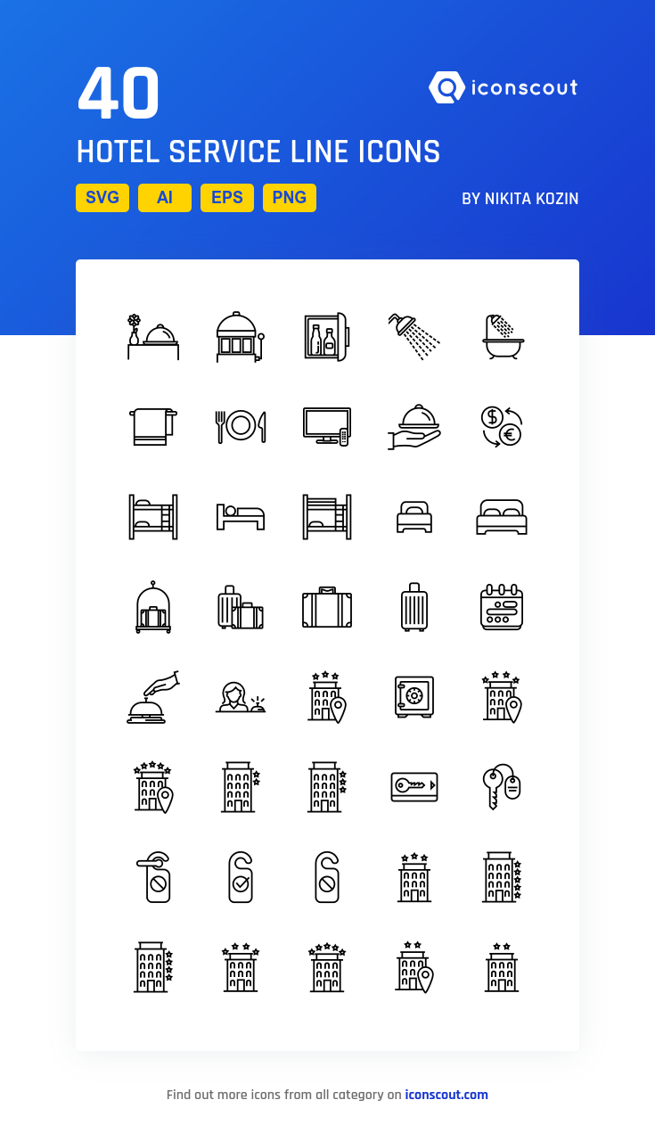 Download Hotel Service Line Icon Pack Available In Svg Png Eps Ai Icon Fonts Line Icon Hotel Services Icon