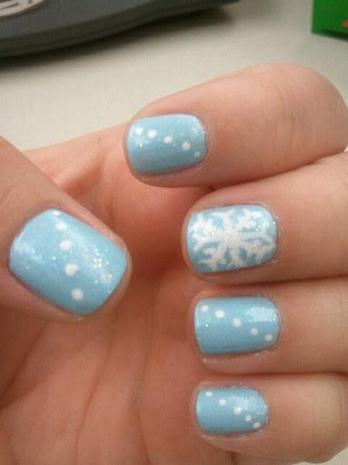 Cute Blue Snowflake Winter Nail Great For January Or New Years