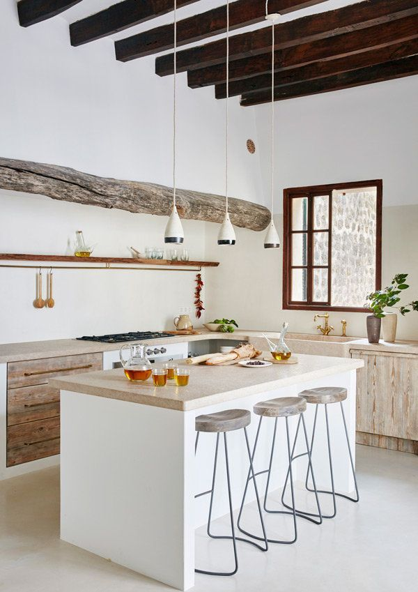 White Kitchen With Rustic And Modern Elements