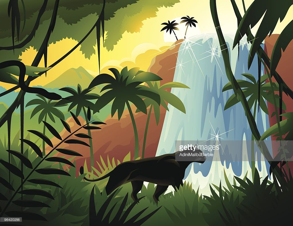 Black Panther Hunting In Tropical Jungle Tropical Forest Graphics