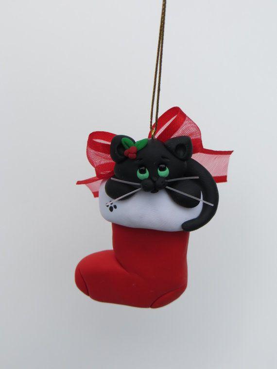 Black cat christmas ornament polymer clay cute polymers for Cat christmas ornaments craft
