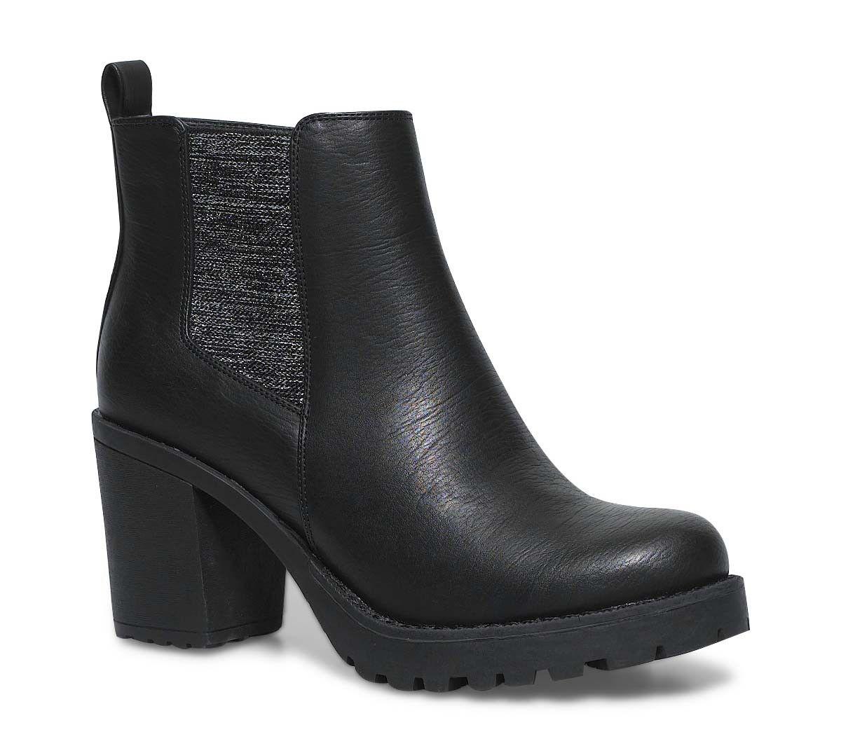 Boots Noir Cranté à Talon Noir xDYeApH