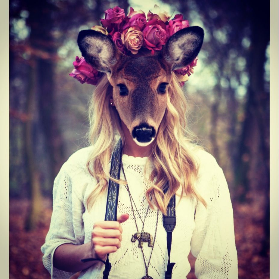 Animal face and flower crown