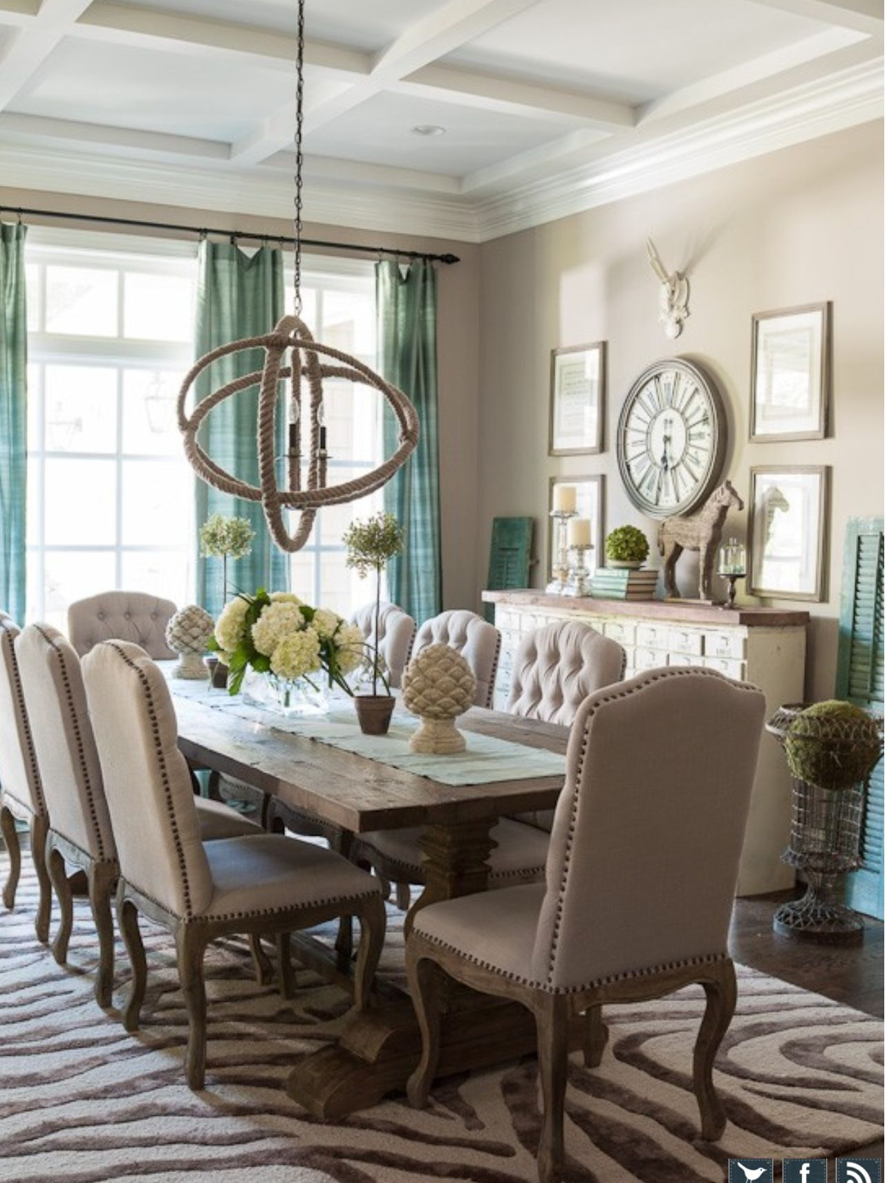Love This For Our Dining Room When We Convert Our House French Country Dining Room French Country Dining Room Decor Country Dining Rooms #tan #and #turquoise #living #room