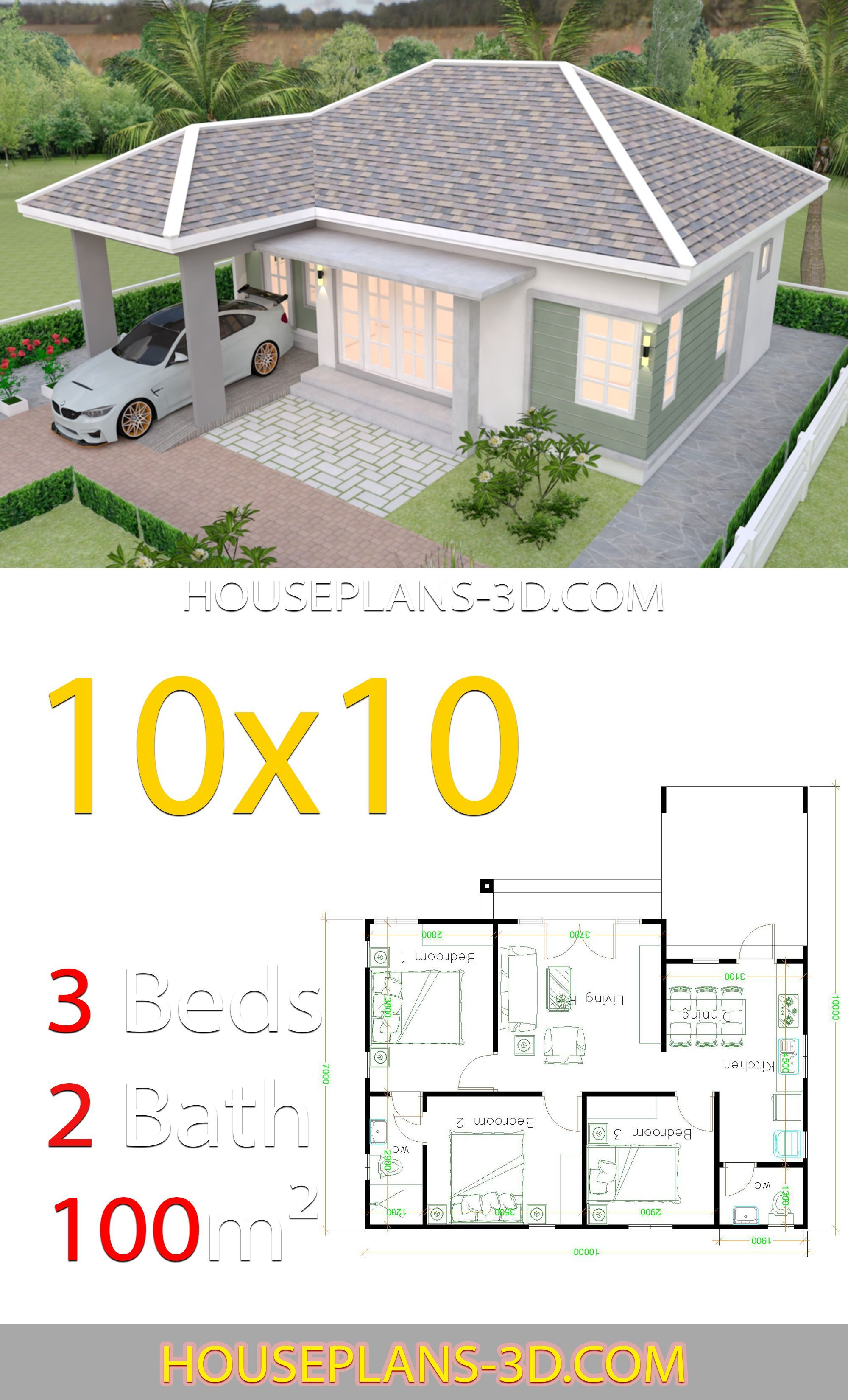 House Design 10x10 With 3 Bedrooms Hip Roof House Plans 3d In 2020 Simple House Design Affordable House Plans House Plan Gallery