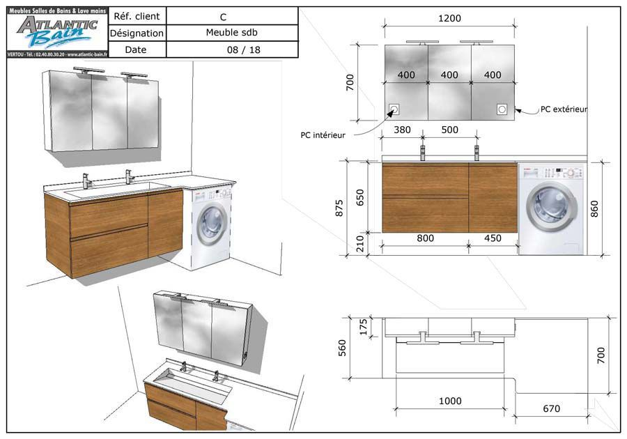 Jules Meuble Design De Salle De Bains Pour Lave Linge Integre Design De Salle De Bain Amenagement Salle De Bain Plans Petite Salle De Bain