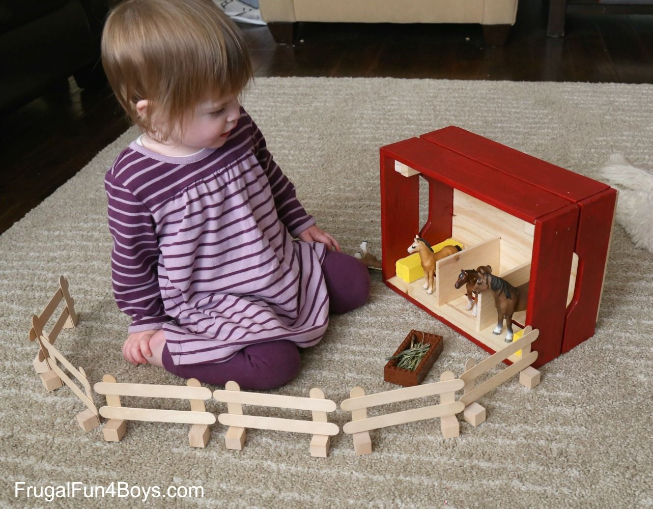IKEA Hack: Knagglig Wooden Crate Horse Stable for Toy ...
