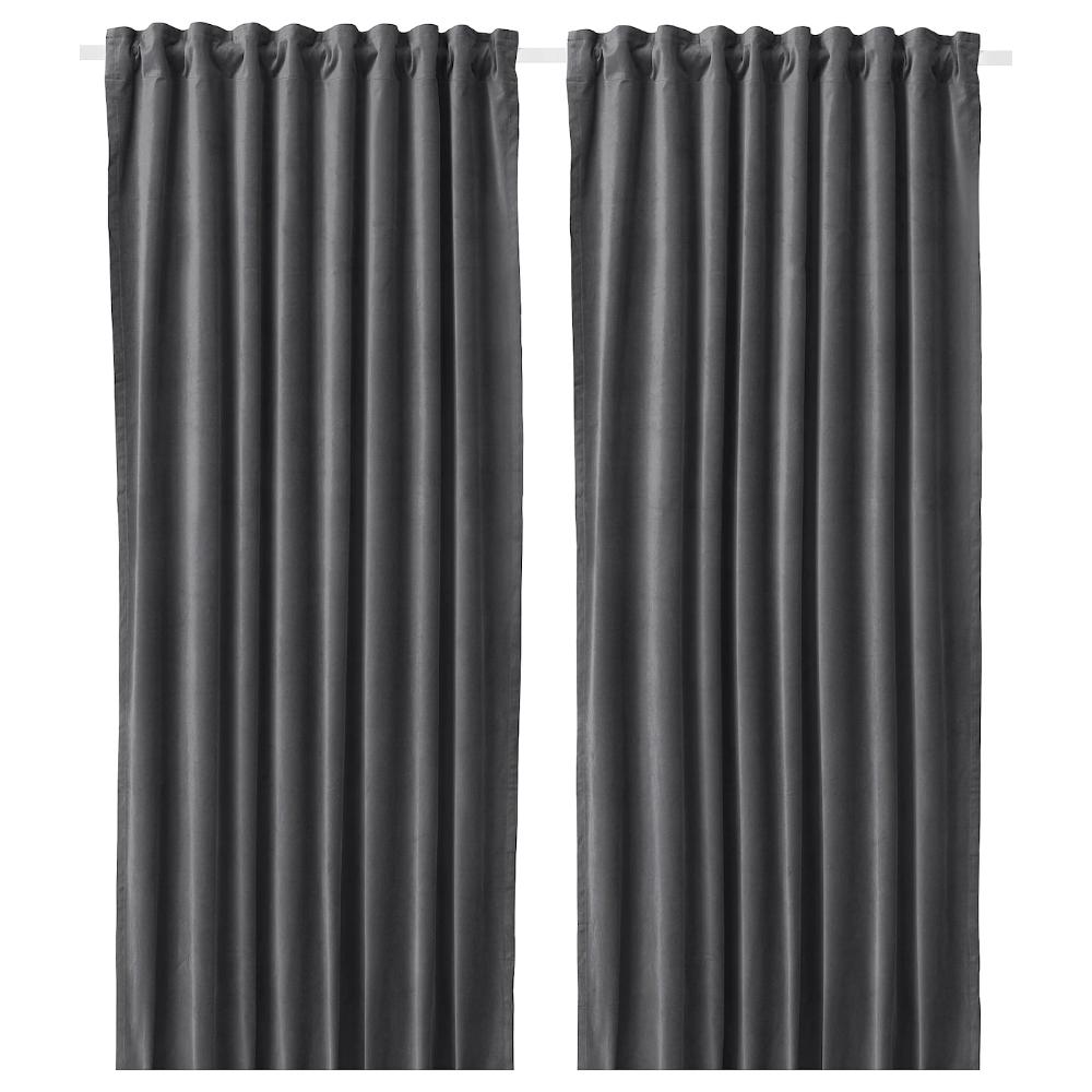 Sanela Room Darkening Curtains 1 Pair Dark Gray 55x98 Ikea Room Darkening Curtains Room Darkening Thick Curtains