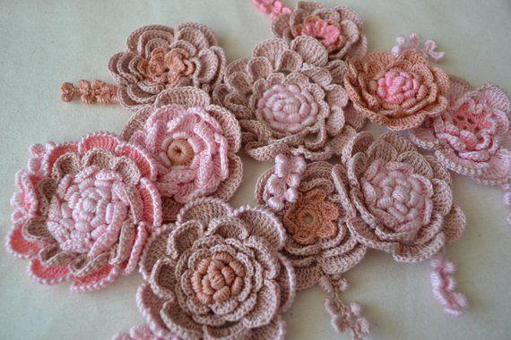 Rose crochet irish crochet 10pcs flower girl gift diy white flowers
