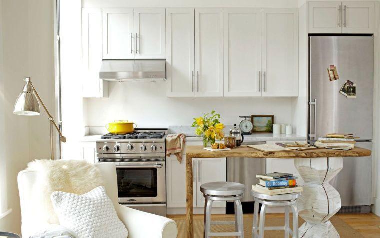 Kleine Küche mit Center Island oder Bar: 24 Ideen des Layouts ...