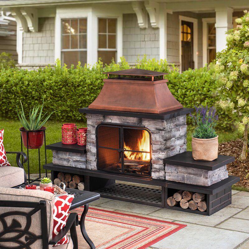 Quillen Steel Wood Burning Outdoor Fireplace in 2020 ... on Quillen Steel Wood Burning Outdoor Fireplace id=52248