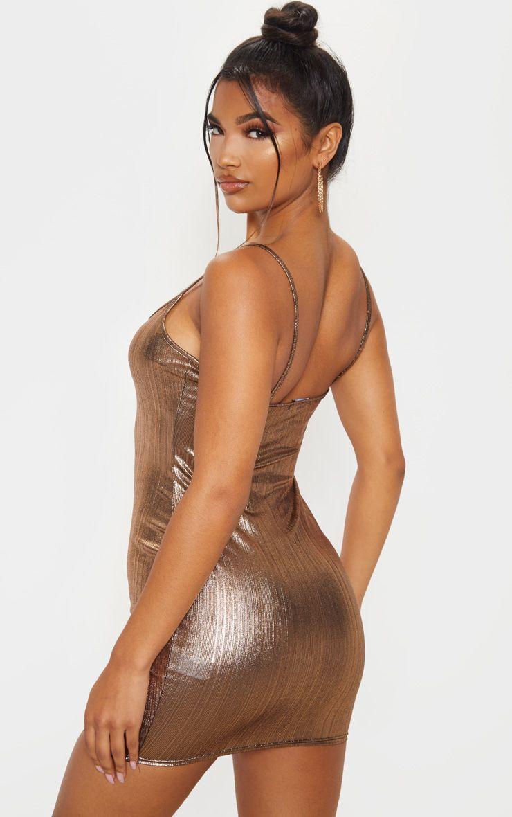 Rose Gold Metallic Strappy Bodycon Dress Bodycon Dress Bodycon Glam Dresses [ 1180 x 740 Pixel ]